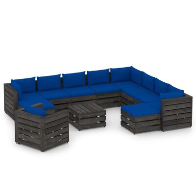 vidaXL Set mobilier de grădină cu perne, 12 piese, gri, lemn tratat