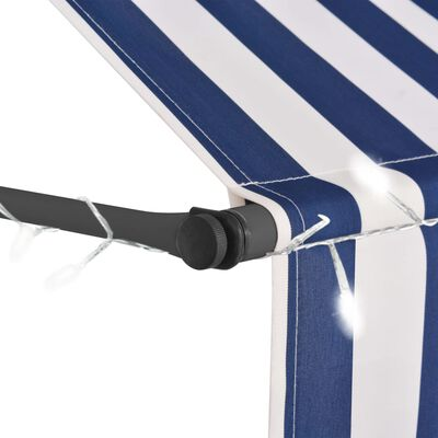 vidaXL Copertină retractabilă manual cu LED, albastru & alb, 300 cm