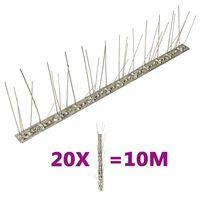 vidaXL Set bandă cu țepi antipăsări cu 5 rânduri, 20 buc., oțel, 10 m