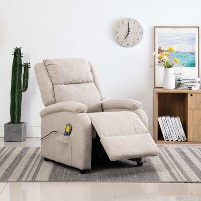 vidaXL Fotoliu de masaj rabatabil, crem, material textil