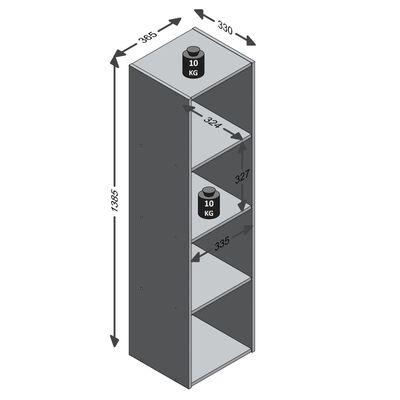 FMD Raft vertical cu 4 compartimente, gri beton