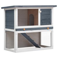 vidaXL Cușcă de iepuri pentru exterior, 1 ușă, gri, lemn
