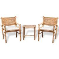 vidaXL Set mobilier bistro cu perne, 3 piese, bambus
