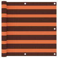 vidaXL Paravan de balcon portocaliu și maro 90x500 cm țesătură oxford