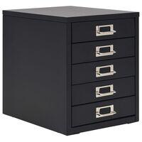 vidaXL Fișet cu 5 sertare, metal, 28 x 35 x 35 cm, negru