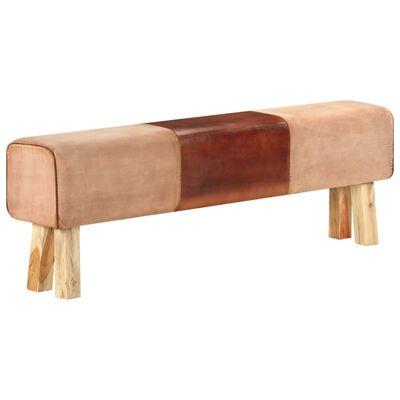 vidaXL Bancă Bok gimnastică maro 160cm piele naturală/lemn masiv mango