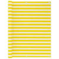 vidaXL Paravan de balcon, galben și alb, 120x600 cm, HDPE
