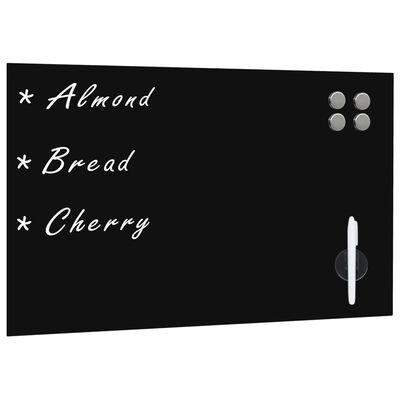 vidaXL Tablă magnetică de perete neagră, sticlă, 60 x 40 cm