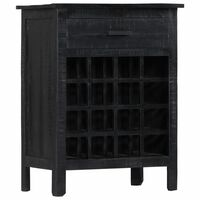 vidaXL Suport sticle de vin, negru, 56x35x75 cm, lemn masiv de mango