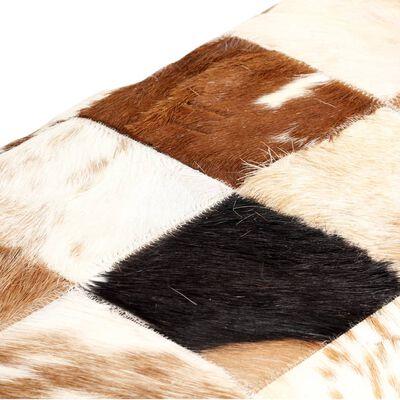 vidaXL Bancă, maro, 160 cm, piele naturală de capră, model petice