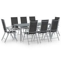 vidaXL Set mobilier de grădină, 9 piese, argintiu și negru, aluminiu
