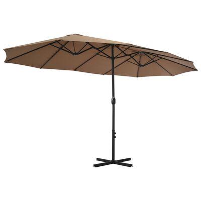 vidaXL Umbrelă soare exterior cu stâlp aluminiu gri taupe 460x270 cm