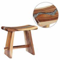 vidaXL Taburet din lemn masiv de suar și polirășină