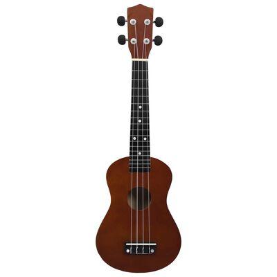 """vidaXL Set ukulele soprano, cu husă, pentru copii, lemn închis, 23"""""""