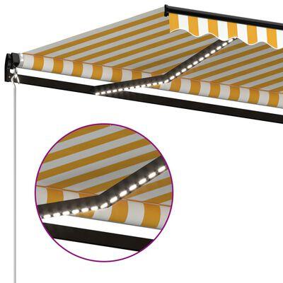 vidaXL Copertină retractabilă manual cu LED, galben și alb, 400x350 cm