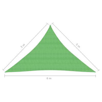 vidaXL Pânză parasolar, verde deschis, 5x5x6 m, 160 g/m², HDPE