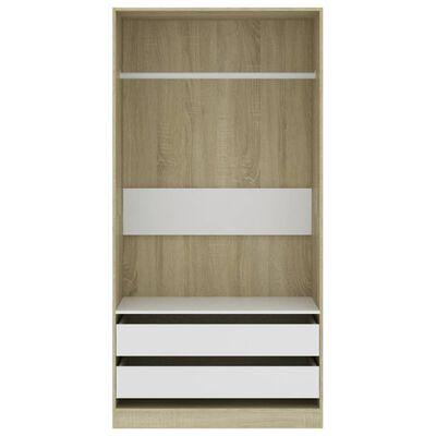 vidaXL Șifonier, alb și stejar Sonoma, 100 x 50 x 200 cm, PAL