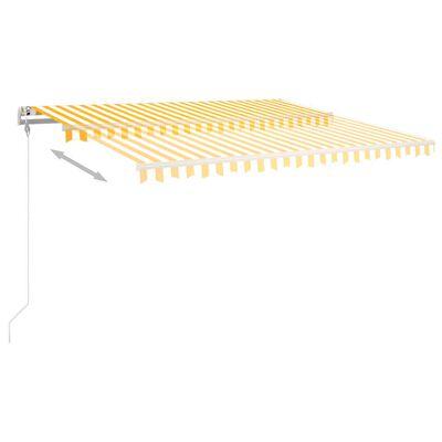vidaXL Copertină autonomă retractabilă manual, galben/alb, 450x350 cm