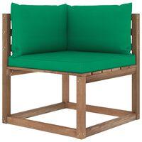 vidaXL Canapea de grădină din paleți colțar, perne verzi