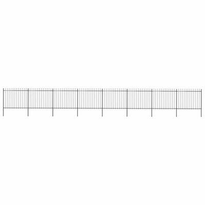 vidaXL Gard de grădină cu vârf suliță, negru, 13,6 x 1,5 m, oțel