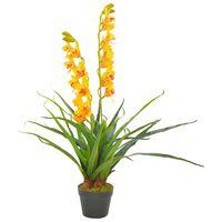 vidaXL Plantă artificială orhidee cu ghiveci, galben, 90 cm