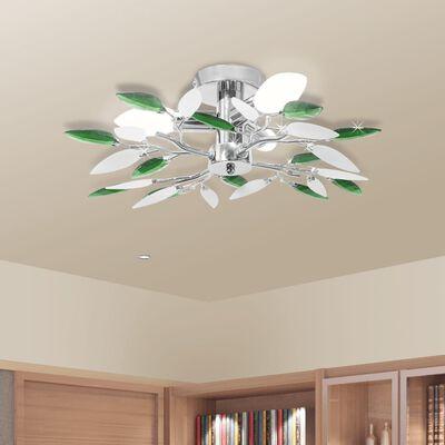 Lustră cu cristale acrilice formă frunze albe și verzi pt 3 becuri E14