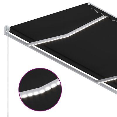 vidaXL Copertină automată senzor vânt & LED, antracit, 300x250 cm