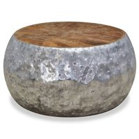 vidaXL Măsuță de cafea din aluminiu și tec, 60 x 60 x 30 cm