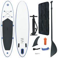 vidaXL Set placă stand up paddle SUP surf gonflabilă, albastru și alb