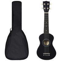 """vidaXL Set ukulele soprano, cu husă, pentru copii, negru, 21"""""""