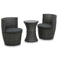 vidaXL Set mobilier de bistro cu perne, 3 piese, gri, poliratan