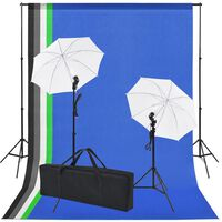 vidaXL Kit studio foto: 5 fundaluri colorate & 2 umbrele