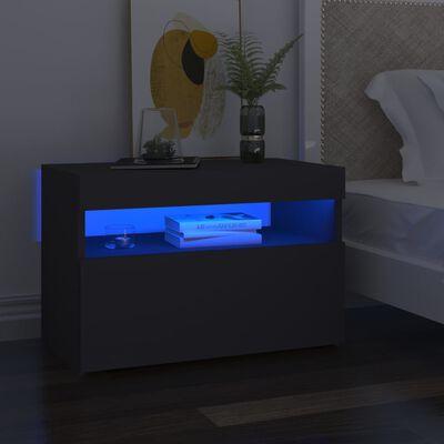 vidaXL Comode TV cu lumini LED, 2 buc., gri, 60x35x40 cm