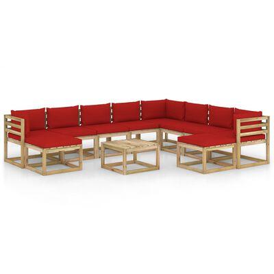 vidaXL Set mobilier grădină cu perne, 11 piese, lemn de pin tratat