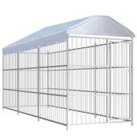 vidaXL Padoc pentru câini de exterior, cu acoperiș, 450x150x200 cm