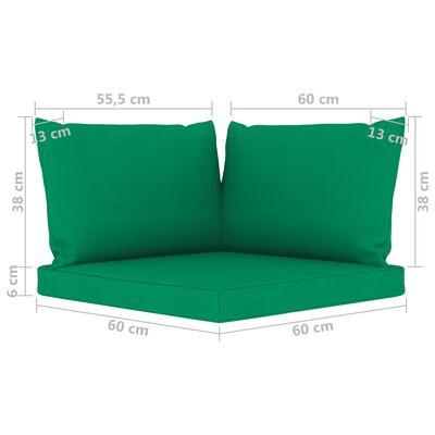 vidaXL Canapea de grădină cu 3 locuri, cu perne verzi