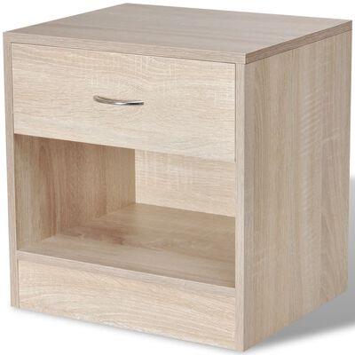 vidaXL Noptieră cu sertar, 2 buc, culoare stejar