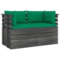vidaXL Canapea grădină din paleți, 2 locuri, cu perne, lemn masiv pin
