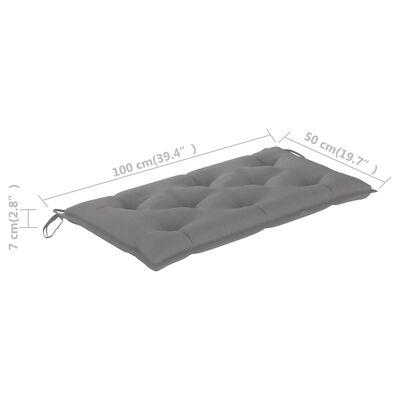 vidaXL Pernă pentru bancă de grădină, gri, 100x50x7 cm, textil