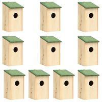 vidaXL Căsuțe de păsări ,10 buc., 12 x 12 x 22 cm, lemn masiv de brad