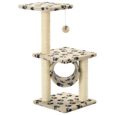 vidaXL Ansamblu pisici, stâlpi funie sisal, 65 cm imprimeu lăbuțe, bej