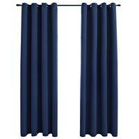 vidaXL Draperii opace cu inele metalice, 2 buc, albastru, 140 x 175 cm