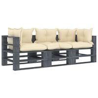 vidaXL Canapea de grădină din paleți cu 3 locuri, perne crem, lemn