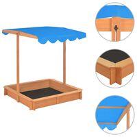 vidaXL Cutie de nisip cu acoperiș ajustabil albastru lemn de brad UV50