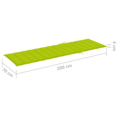 vidaXL Șezlong cu pernă verde aprins, lemn de pin tratat