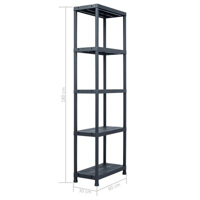 vidaXL Raft de depozitare, negru, 60 x 30 x 180 cm, plastic, 125 kg
