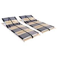vidaXL Baze de pat cu șipci, 2 buc., 42 șipci, 7 zone, 80 x 200 cm