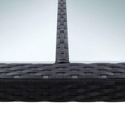 vidaXL Masă de grădină, negru, 200 x 200 x 74 cm, poliratan