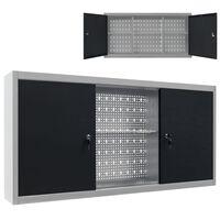 vidaXL Dulap de perete pentru unelte gri & negru metal stil industrial