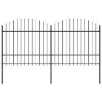 vidaXL Gard de grădină cu vârf suliță, negru, (1,5-1,75)x3,4 m oțel